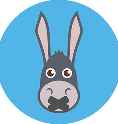 Donkey head with mouth sealed shut up concept flat vector