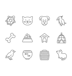 Pets icon set in line art style vector