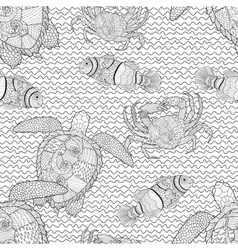 Oceanic animals tracery seamless pattern vector