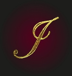 J golden letter vector