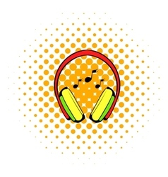 Headphone icon comics style vector