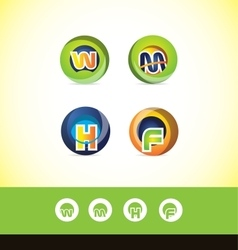 Alphabet letter sphere logo icon set vector