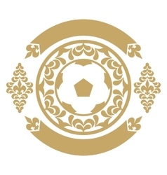 Gold retro the card or an emblem with a soccerball vector