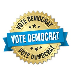 Vote democrat 3d gold badge with blue ribbon vector