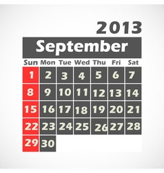 Calendar 2013 September vector image