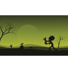 Silhouette of halloween zombie and crow scary vector