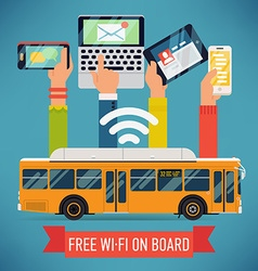 Free wi-fi on board public transport poster vector