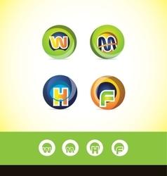 Alphabet letter sphere logo icon set vector
