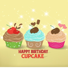 Birthday cupcake against a cyan background vector