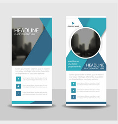 Blue circle roll up business brochure flyer vector