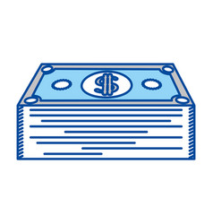 Blue contour of dollars bill stack vector