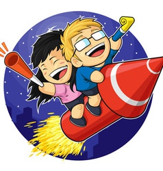 Cartoon of Boy Girl Riding New Year Firework vector image