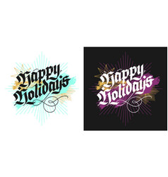 Christmas lettering greeting cards vector