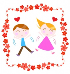 couple with floral border vector image vector image