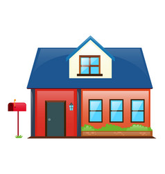 house painted red with blue roof vector image vector image