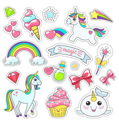 Magic cute unicorn stars on the clouds poster vector