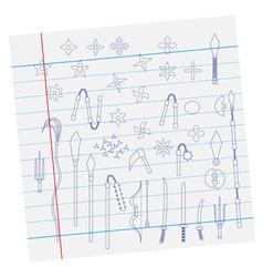 Ninja weapon on paper vector
