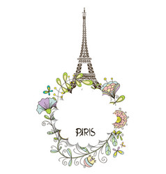 paris eiffel tower with a floral design vector image vector image