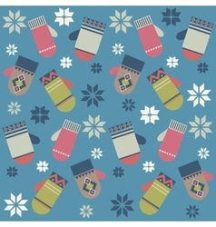 Pattern with colorful mittens vector image vector image