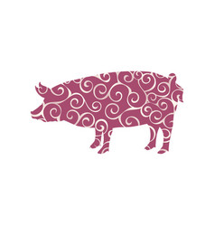 Pig farm mammal color silhouette animal vector