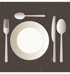 Place setting with plate knife spoons and fork vector