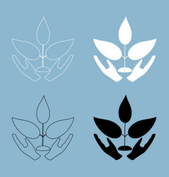 Plant and hand the black and white color icon vector