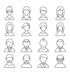 Set of people outline icons vector image vector image