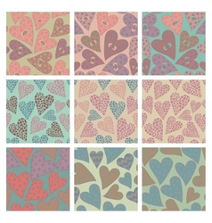 Set of seamless pattern with hearts vector image vector image