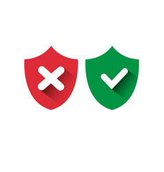shield red and green icons check mark protection vector image