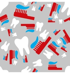 tooth and toothbrush seamless pattern vector image vector image