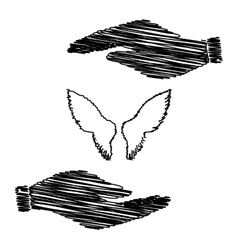 Wings sign save or protect symbol vector