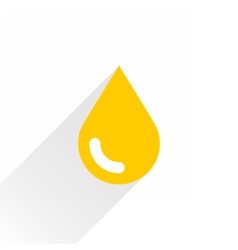 Yellow color drop icon with gray long shadow vector