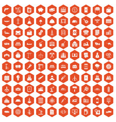 100 plant icons hexagon orange vector image vector image