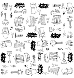 Collection stock music doodles set vector