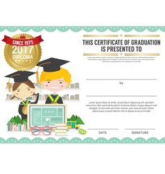 Diploma certificate template with modern pattern vector