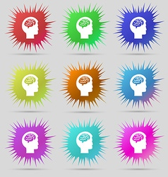 Brain icon sign a set of nine original needle vector