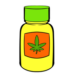 Bottle with buds of marijuana icon cartoon vector