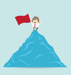 Red flag and success businessman is win on top up vector