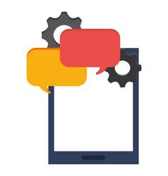 smartphone bubble speech talk gear vector image