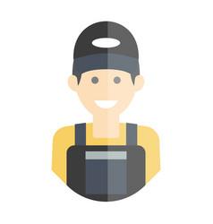 smiling laborer man vector image