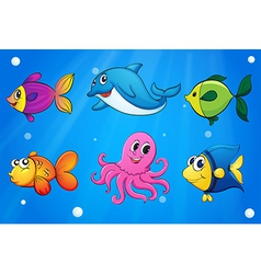 Sea creatures under the sea vector