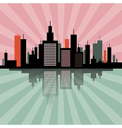 Evening - morning city scape retro skyline vector