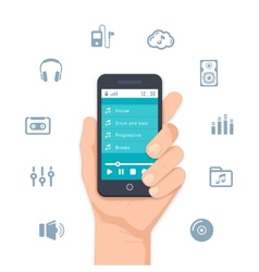 Hand holding a mobile mp3 player vector