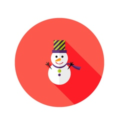 Christmas Snowman with Topper Hat Flat Icon vector image