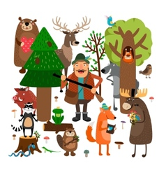 Forest animals and hunter vector