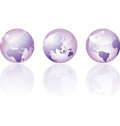Three glass world globe views vector