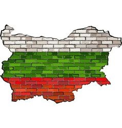 Bulgaria map on a brick wall vector