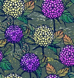 Seamless pattern with autumn chrysanthemums vector