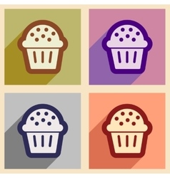 Set flat icons with long shadow celebratory cake vector