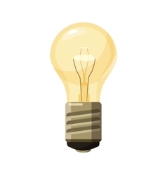 Glowing yellow light bulb icon cartoon style vector